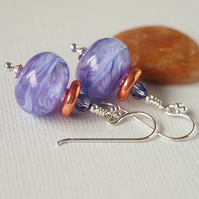 Mauve Lampwork Glass Bead Earrings, Copper Greek Ceramic, Sterling Silver