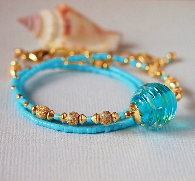 Turquoise Lampwork Glass Bead Necklace, Gold Filled
