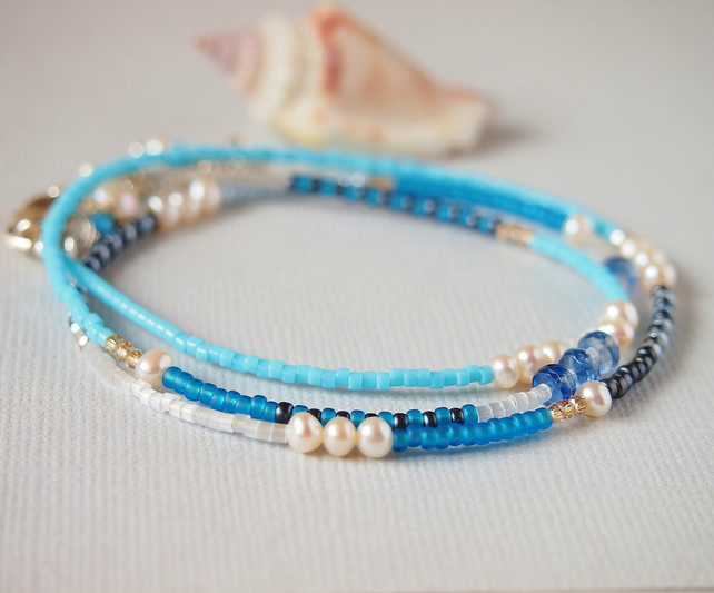 Turquoise Blue Beaded Wrap Bracelet - Necklace - Sterling Silver