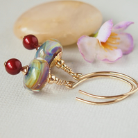 Rainbow Glass Bead Earrings, Artisan Lampwork, Red, 14kt Gold Filled