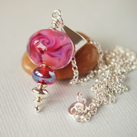 Pink Lampwork Glass Pendant Sterling Silver with Chain