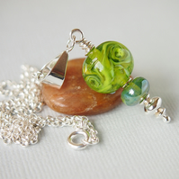 Green Artisan Lampwork Glass Pendant and Sterling Silver Chain