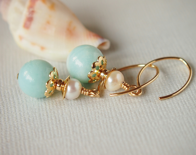 Amazonite Gemstone Freshwater Pearl Earrings - Gold Filled