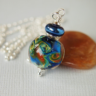 Blue Lampwork Glass Pendant Sterling Silver with Chain