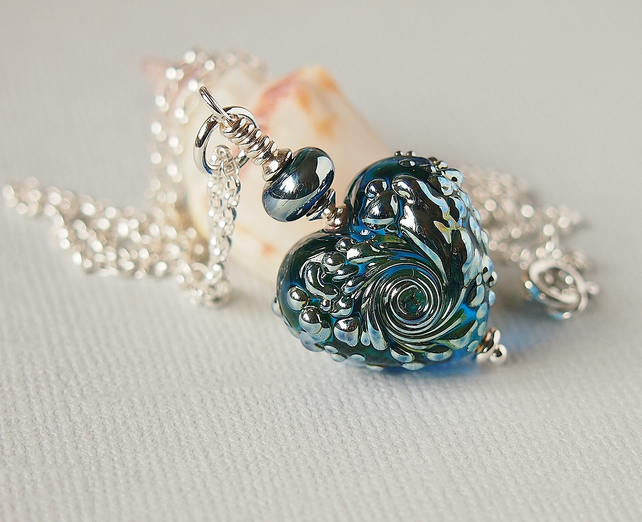 Blue Glass Heart Pendant Necklace - Sterling Silver - Artisan Lampwork