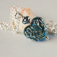 Blue Glass Heart Pendant - Sterling Silver - Artisan Lampwork