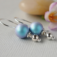 Light Blue Pearl Earrings - Sterling Silver
