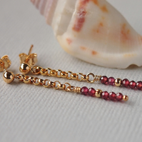 Garnet Gemstone Earrings - Gold Filled - Stud - Red
