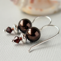 Dark Brown Pearl Earrings - Swarovski Crystal - Sterling Silver