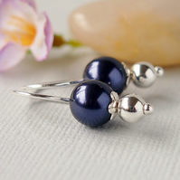Purple Glass Pearl Earrings - Swarovski - Sterling Silver