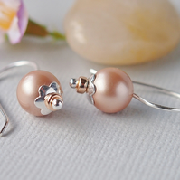 Blush Pink Sterling Silver Pearl Drop Earrings