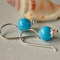 Turquoise Swarovski Glass Pearl Earrings - Sea Blue - Sterling Silver
