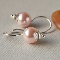 Rose Pink Swarovski Glass Pearl Earrings - Sterling Silver