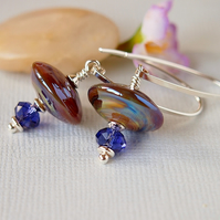Amber Purple Lampwork Earrings -  Swarovski - Sterling Silver