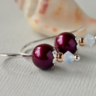 Plum Swarovski Pearl Earrings - Blackberry - Sterling Silver