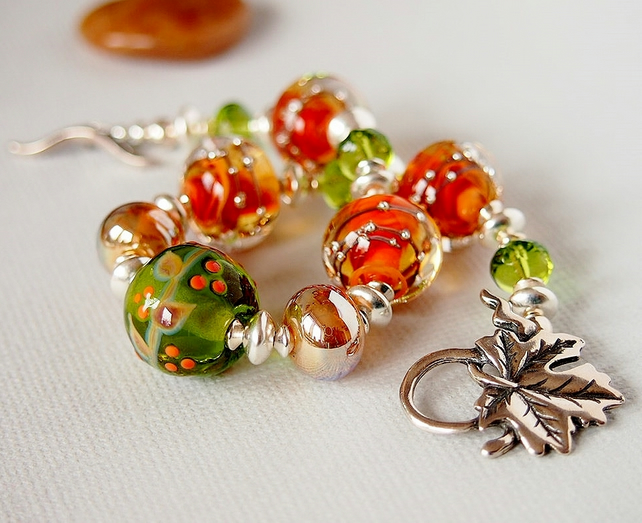 Orange Brown Green Gold Lampwork Glass Beaded Bracelet, Sterling Silver