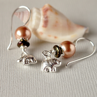 Elephant Charm Earrings - Rose Gold Swarovski Pearl Earrings - Sterling Silver