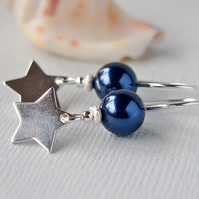 Dark Blue Pearl Earrings - Silver Star - Sterling Silver