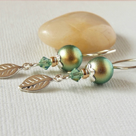 Green Pearl Earrings - Swarovski Crystal - Sterling Silver