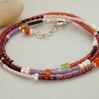 Autumn Leaves Wrap Bracelet, Gemstone Beaded, Necklace, Sterling Silver