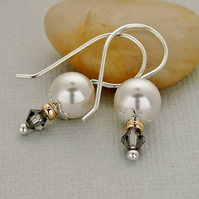 White Pearl Earrings - Swarovski Grey Crystal - Sterling Silver