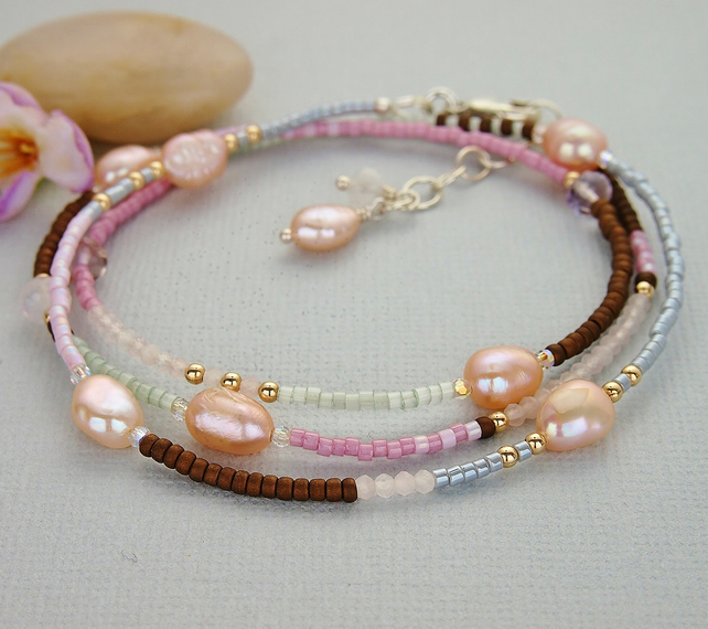 Pearl Wrap Bracelet - Necklace - Gemstones - Freshwater Pearls - Sterling Silver