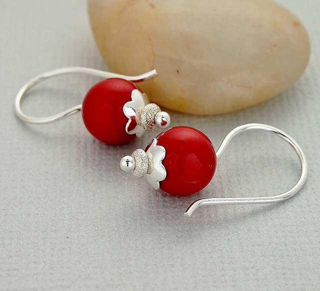 Red Pearl Earrings - Swarovski - Glass Bead - Sterling Silver