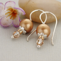Gold Pearl Earrings - Swarovski Crystal - Sterling Silver