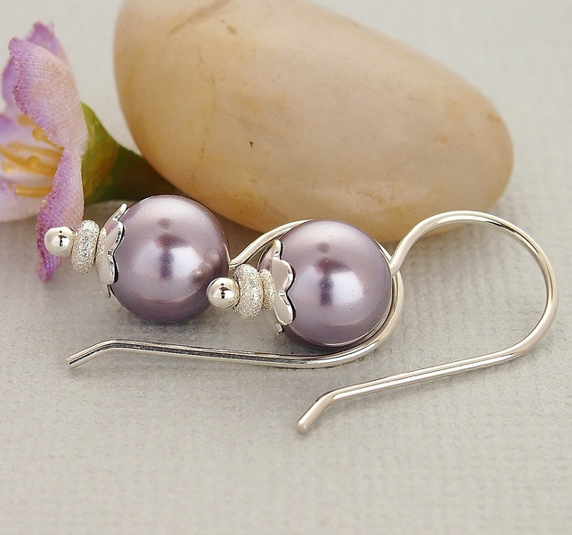 Mauve Pearl Earrings - Sterling Silver
