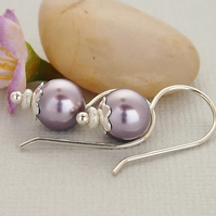 Mauve Earrings - Swarovski Crystal Glass Bead - Sterling Silver