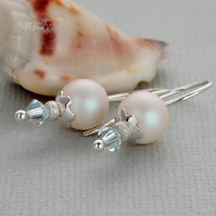 White Blue Swarovski Crystal Pearl Earrings - Sterling Silver