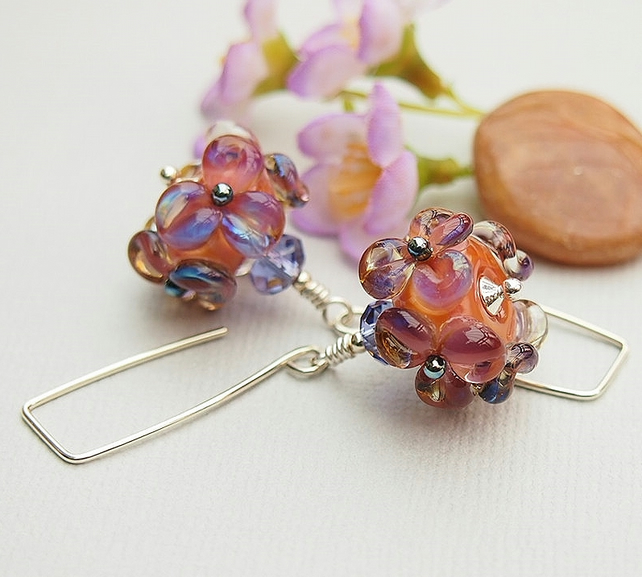 Floral Glass Bead Earrings - Salmon Pink - Violet - Lampwork - Sterling Silver