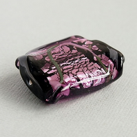 Amethyst Black Large Czech Glass Focal Bead, Silver Foil