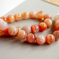 Crackle Agate 16mm Round Gemstone Beads, Orange, Beige, Grey