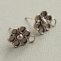 Bali .925 Silver Flower Earring Ear Studs with Closed Loop and Butterfly Backs
