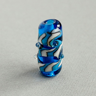 Blue Swirl Handmade Lampwork Glass Focal Bead