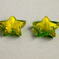 Murano Glass Beads, Stars, Gold Foil, Lime Green