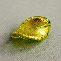 Murano Glass Twist Wave Bead, Green Bead, Gold Foil Lined