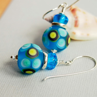Turquoise Glass Bead Earrings, Etched, Blue, Artisan Lampwork, Sterling Silver
