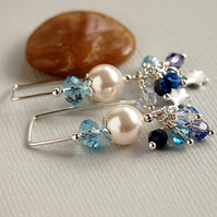 Sterling Silver Pearl Earrings - Threader Earrings - Blue - White