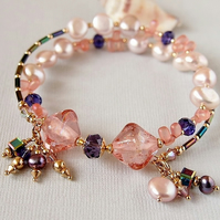 Pink Peach Bracelet, Freshwater Pearl, Lampwork, Gold Filled