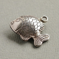Karen Hill Tribe Silver Fish Charm, Hollow Puffed, Oxidised.