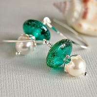 Teal Blue Green Earrings - Pearl Earrings - Swarovski - Lampwork Glass