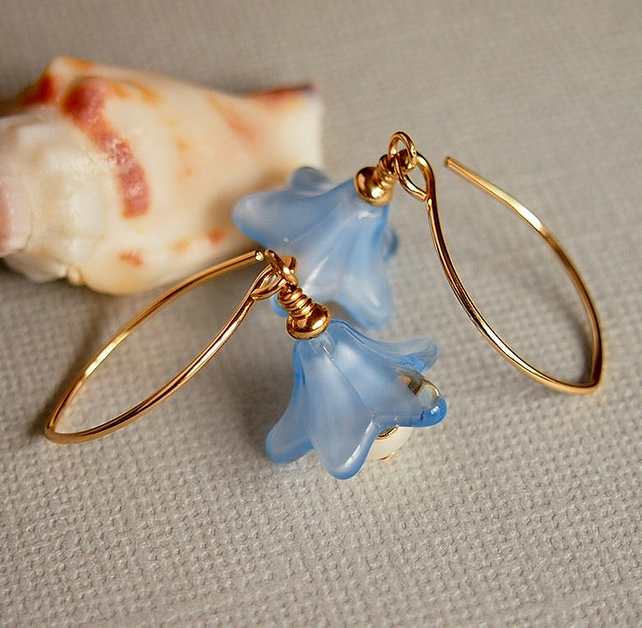 Blue Glass Flower Earrings, Freshwater Pearl Earrings,14kt Gold Filled