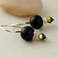 Black Pearl Earrings - Swarovski Crystal - Sterling Silver