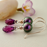 Amethyst Pearl Earrings - Glass Bead Earrings - Sterling Silver