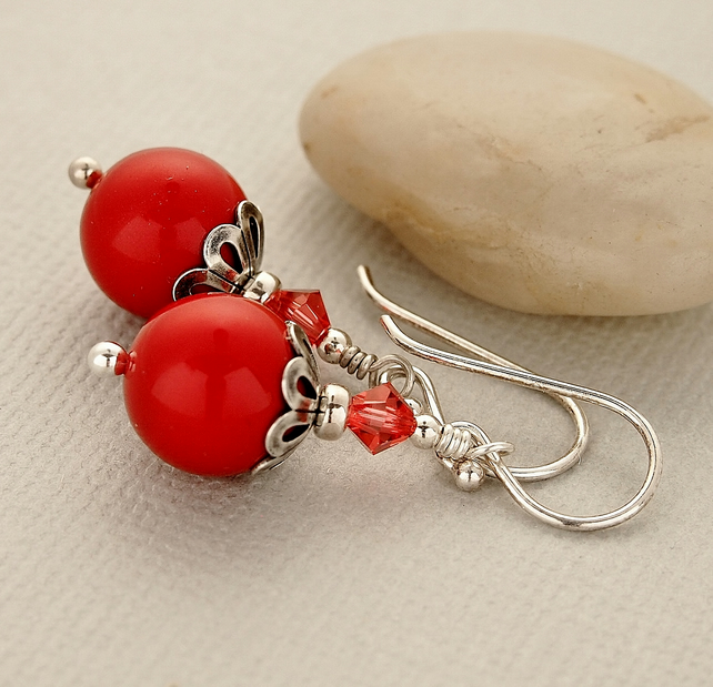 Red Glass Pearl Beaded Earrings, Swarovski, Sterling Silver
