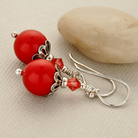 Red Pearl Earrings - Swarovski - Sterling Silver