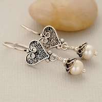 Freshwater Pearl Sterling Silver Oxidised Filigree Earrings