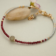 Red Garnet Gemstone Skinny Seed Bead Bracelet- Gold Filled - Layering